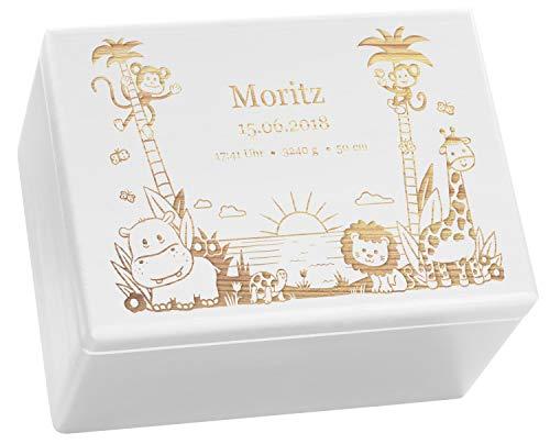 LAUBLUST Holzkiste mit Gravur - Personalisiert mit GEBURTSDATEN - Weiß, Größe XL - Dschungel Motiv -...