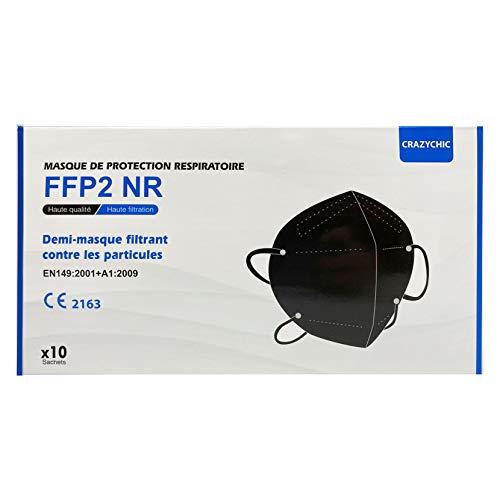 CRAZYCHIC - FFP2 Maske Schwarz Atemschutzmaske - CE Zertifiziert EN 149 Schutzmaske 5 lagige -...