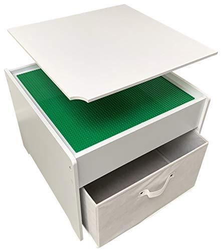 Fridakids 2in1 Spieltisch aus MDF-Holz, Bauplatten kompatibel für Bausteine, inklusive Aufbewahrungsbox....