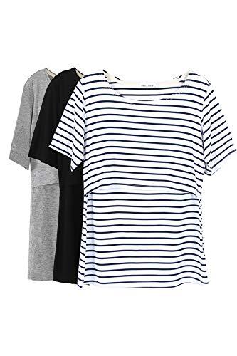Smallshow Stillshirt Umstandstop T-Shirt Überlagertes Design Umstandsshirt Schwangerschaft Kleidung...