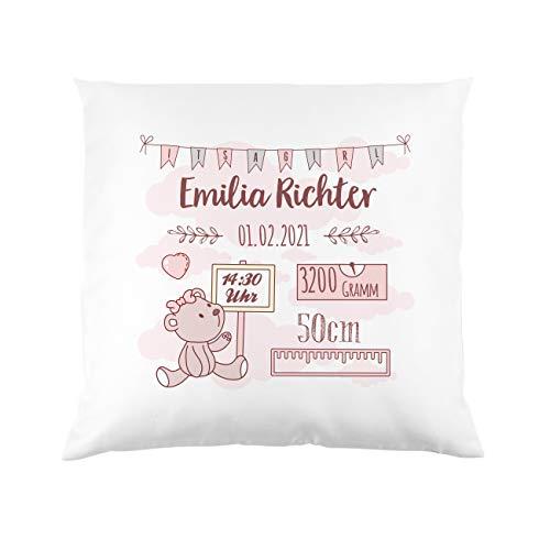 Striefchen® Kissen als Geschenk zur Taufe oder Geburt mit Namen & Datum - Teddybär - Babygeschenk oder...