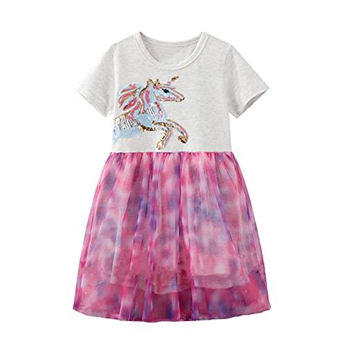 JinBei Kleider Mädchen Einhorn Kinder Pailletten Pferd Rosa Netzgarn Sommer Kurzarm Spitzenrock Grau Kleid...