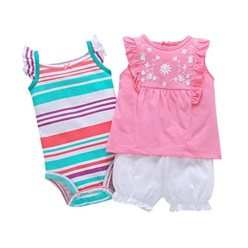 JiAmy Baby Mädchen 3 Stück Bekleidungsset, Kurzarm-Kleid + Shorts + Body Set, 18-24 Monate