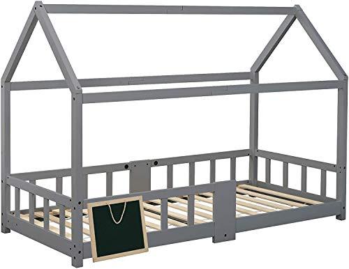 ModernLuxe Kinderbett 90x200 cm Hausbett mit Rausfallschutz Robuste Lattenroste Hausbett mit inklusive Tafel...