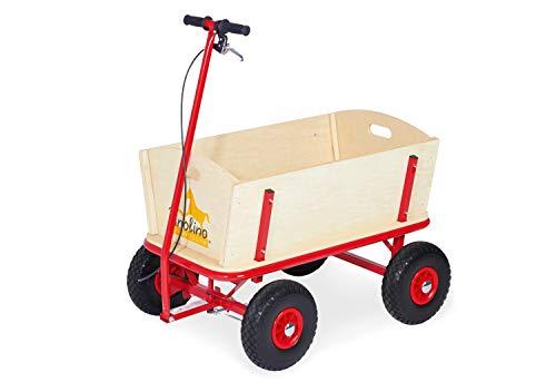 Pinolino Bollerwagen Til mit Bremse, aus massivem Holz, Oberteile komplett abnehmbar, Tragfähigkeit 80 kg,...