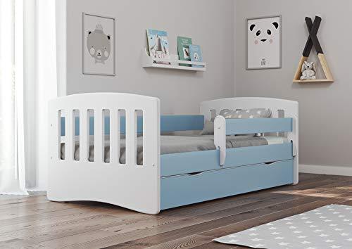 Bjird Kinderbett Jugendbett 80x160 80x180 Blau mit Rausfallschutz Schublade und Lattenrost Kinderbetten für...