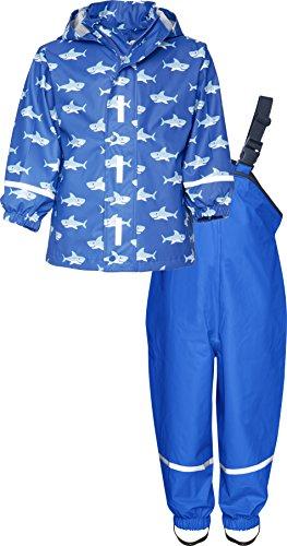 Playshoes Kinder Regenanzug, zweiteiliges Regen-Set für Jungen mit abnehmbarer Kapuze, mit Hai-Muster, Blau...