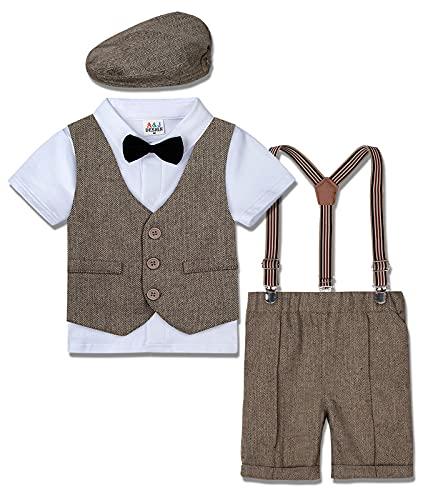mintgreen Kinderbekleidung Set für Baby Jungen Hochzeit Geburtstag Party Outfit, Khaki, 2-3 Jahre