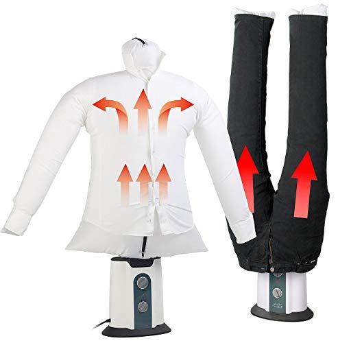 Sichler Haushaltsgeräte Bügelstation: 2in1-Bügelpuppe inkl. Hosen-Aufsatz, Gebläse & Kleiderständer,...