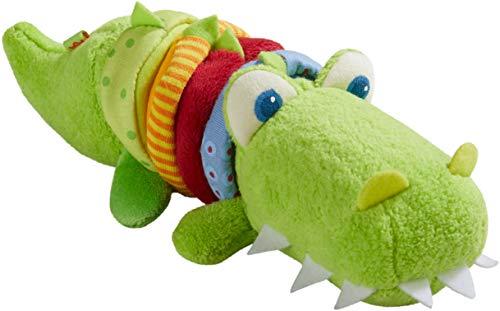HABA 304759 - Ratterfigur Kroko, Baby-Spielzeug aus Stoff mit Rattermotor, Spielzeug ab 6 Monaten
