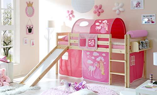 lifestyle4living Hochbett für Kinder in pink-braun mit Rutsche, Vorhang im Prinzessin Motiv | Spielbett aus...