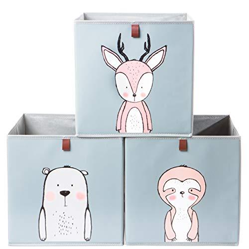 2friends 3 Kinder Aufbewahrungsboxen mit Schlaufe zum Herausziehen, 3er Set mit 3 Motiven, 33x33x33 cm, ideal...