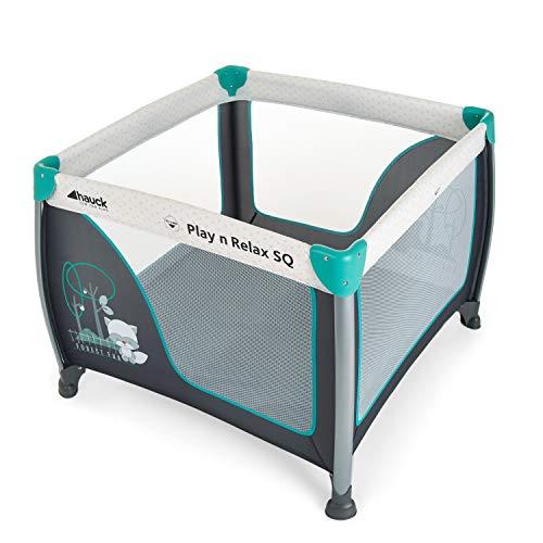 Hauck Play'n Relax SQ Reisebett, leichtes 3-teiliges, quadratisches Baby-Laufgitter, inkl. Matratze und...
