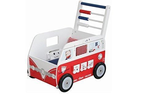 roba Teddybus aus Puppenmöbel Serie 'Teddy College', Puppenwagen weiss lackiert, Puppenzubehör inkl. Kissen,...
