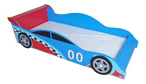 Kiddi Style Autobett & Rennwagenbett in Blau / Rot – Kinderbett & Spielbett für Jungen – Jugendbett &...