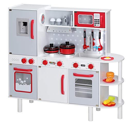 Spielzeugküche Spielküche Kinderküche aus Holz Junior Chef Mikrowelle Backofen Herd Sound Licht 38 Teile...