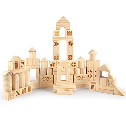 VATOS Holzbausteine Pädagogisches Montessori Spielzeug ab 1 2 3 4 5 6+ Jahren Junge Mädchen, 75 Teile 100%...