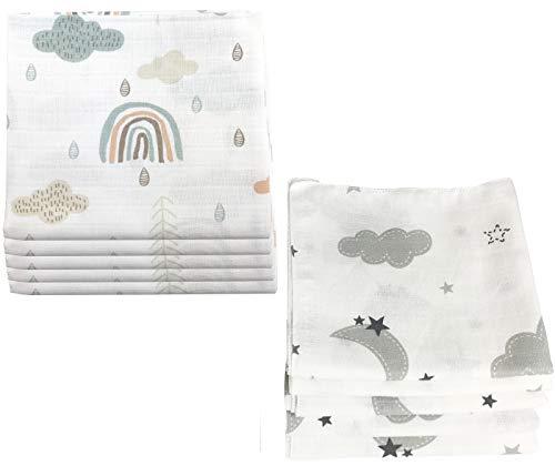 10x Spucktücher Mullwindeln Baby Baumwolle 80x70 cm | ÖKO-TEX (Wolken (5 grau, 5 grün))