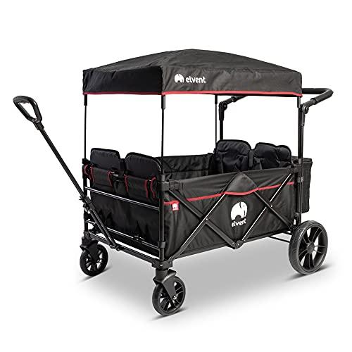 elvent® WagonPro City Bollerwagen/Handwagen faltbar mit Dach I 4 Sitzplätze | groß I Sitzpolster,...
