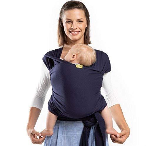 Boba Baby Wrap, Navy Blue - das elastische Tragetuch aus weichem Sommersweat, sehr einfach zu binden, ideal...