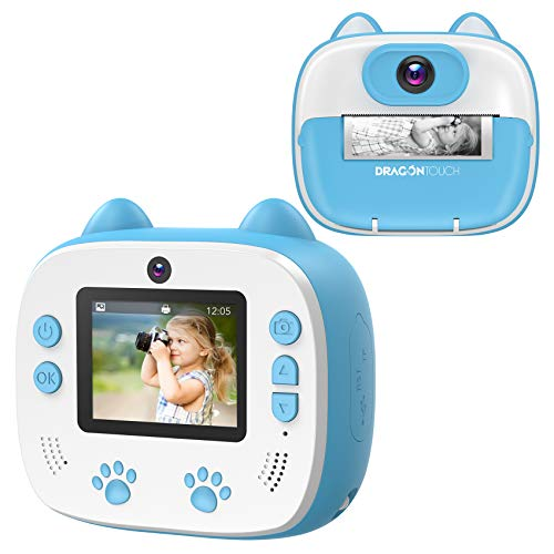 Dragon Touch Sofortbildkamera Kinder Kamera 2 Zoll 1080P Digital Kinderkamera mit 5 Druckpapier,...