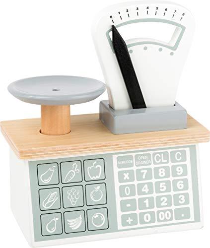 Small Foot 11201 Holzwaage,mit Waagschale und beweglichem Gewichts-Zeiger, Umgang mit Zahlen & Gewichten, für...