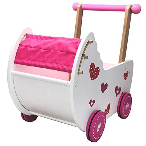Eco Toys Puppenwagen Puppenmöbel Lauflernwagen Schiebewagen rosa/weiß mit Bettwäsche