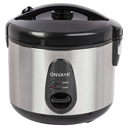ONVAYA® Reiskocher 1,2 Liter aus Edelstahl | inklusive Dampfgarer-Einsatz | Doppeldeckel Warmhaltefunktion |...