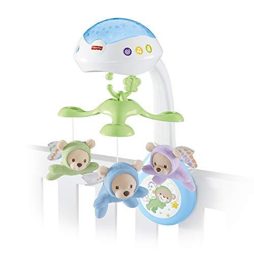 Fisher-Price CDN41 - 3 in 1 Traumbärchen Baby Mobile mit Spieluhr, Nachtlicht, White Noise und Sternenlicht...