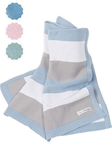 Babydecke aus 100% Bio Baumwolle - kuschelige Strickdecke ideal als Baby Decke, Erstlingsdecke, Wolldecke oder...