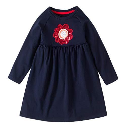 Proumy ◕ˇ∀ˇ◕Kleinkind Baby Kind Frühlings Kleidkinder Blumen Stickerei Lang ärmliges Kleid...
