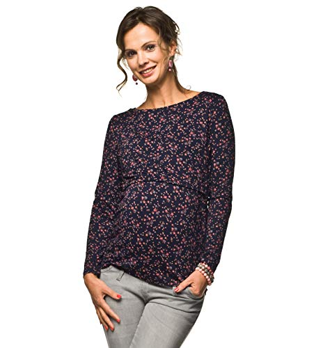 Torelle Damen 2in1 Umstandsshirt mit Stillfunktion, Modell: GAJA, Langarm, dunkelblau mit Blumen, M