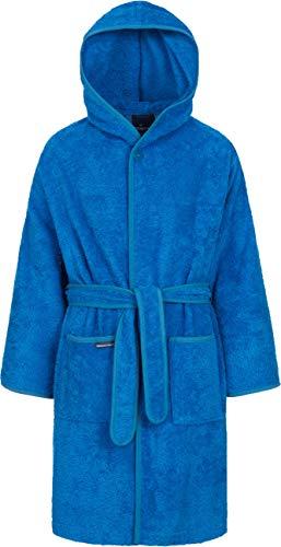 Morgenstern Frottee Kinderbademantel mit Kapuze einfarbig Blau Gr 158 164 Bademantel für Kids Pool...