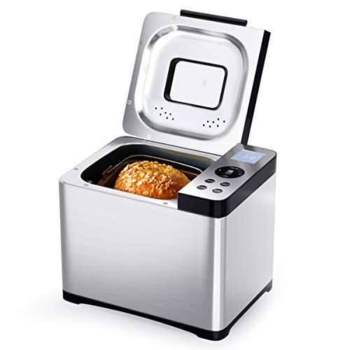 GOPLUS Brotbackautomat 19 Backprogramme, Brotbackmaschine aus Edelstahl, Brotbäcker für 500g-1000g...
