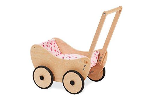 Pinolino Puppenwagen Trixi, aus Holz, inkl. Bettzeug und Bremssystem, Lauflernhilfe mit gummierten...