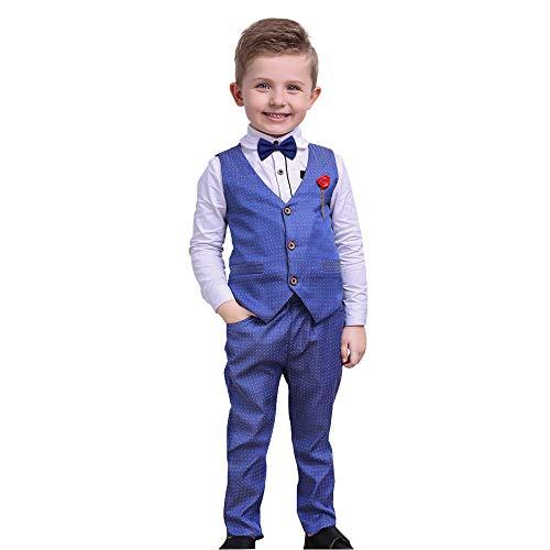 Nwada Bekleidungssets für Jungen Kinder Junge Smokings Hosen Shirt Weste Sets Blau 6-7 Jahre