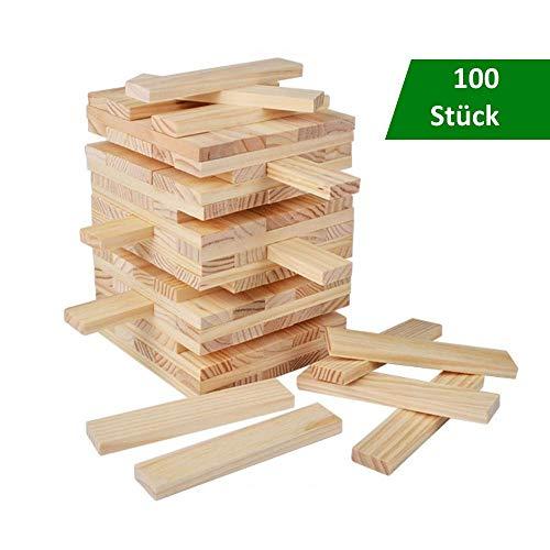 B&Julian® Spielzeug Holzbausteine Holz Bauklötze 100 unbehandelte Holzbaukasten Bauspielzeug Wackelturm für...