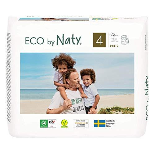 Eco by Naty Höschenwindeln, Größe 4, 22 Windeln, 8–15kg, Premium-Bio‑Höschenwindeln aus...