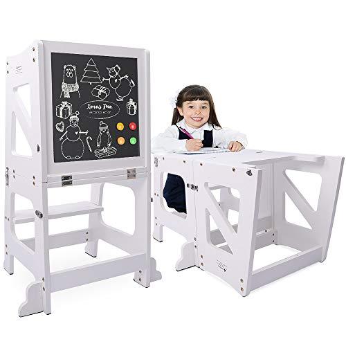 YOLEO 2 in 1 Lernturm Kinder Tritthocker Lernstuhl Kinderhocker Faltbarer Kinderschemel für Baby, mit...