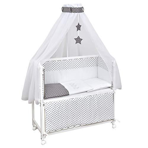 Baby Delux Beistellbett Grey Stars Stubenwagen mobil Babybett Holz weiß 90x40cm inkl. Matratze und Komplett...
