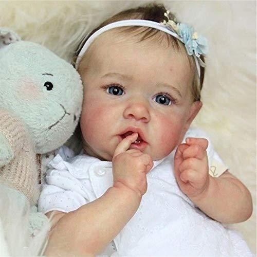 Realistisch Saskia Reborn Babypuppen Graue Augen Mädchen Wiedergeboren Baby Puppe Weiches Vollsilikon...