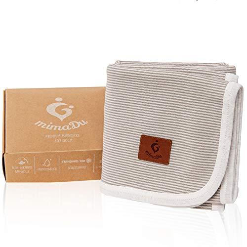 mimaDu® Babydecke aus 100% OEKO-TEX Baumwolle, gestrickte Kuscheldecke - himmlisch weich und bequem - ideal...