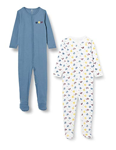 NAME IT Baby-Jungen NBMNIGHTSUIT 2P W/F China Blue Bear NOOS Schlafanzug, 80