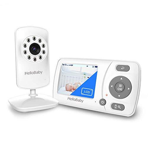 HelloBaby Babyphone mit Kamera und Audio, Infrarot-Nachtsichtkamera, VOX-Modus, Temperaturanzeige, Wiegenlied,...