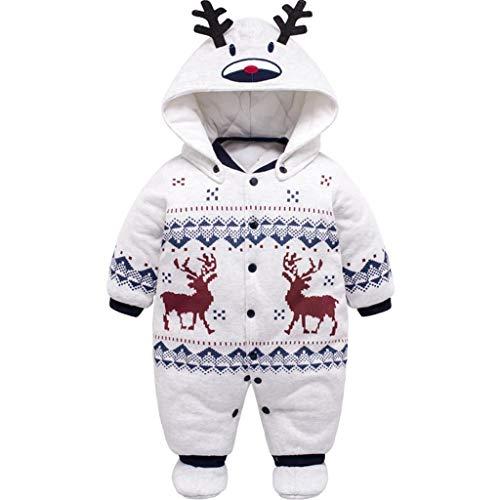 PROTAURI Baby Winter Schneeanzug, Neugeborene Strampler mit Kapuze für Jungen Mädchen Footies Overall...