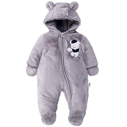 Baby Schneeanzüge Winter Overall mit Kapuze Fleece Strampler Mädchen Jungen Warm Outfits Grau 12-18 Monate