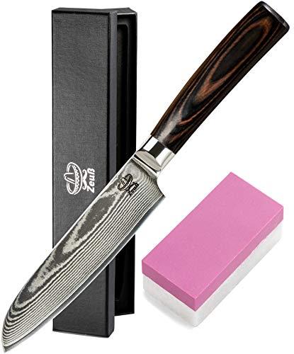 Zeuß XL Küchenmesser Damastmesser (24 cm) - Profimesser - 67 Schichten Japanischem Damaststahl -...