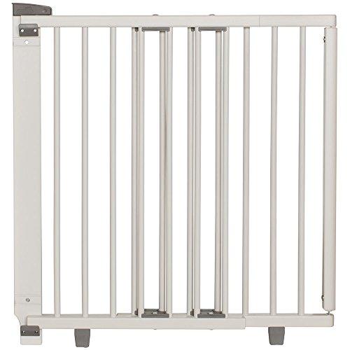 Geuther - Treppenschutzgitter ausziehbar 2734+, für Kinder/Hunde, Türschutzgitter zum bohren, Holz, weiß,...