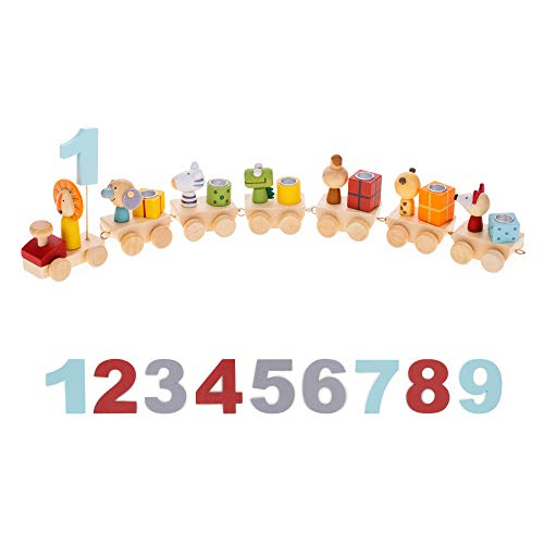 Navaris Holz Geburtstagszug mit Zahlen - Zug Set für Kinder Geburtstag - Kerzen Geburtstagskerzen für...