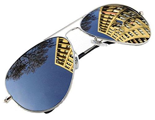 4sold Jungen Polarized Sonnenbrille Kids in vielen Farbkombinationen Klassische Unisex Sonnenbrille (Silver...